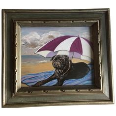 Black Pug on Beach Dog Print by Judy Henn ($125) ❤ liked on Polyvore featuring home, home decor, wall art, prints, black wall art, beach scene wall art, black home decor, black pug wall art and pug home decor