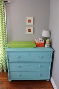 teal blue lime green bright orange modern boy nursery lime green changing table pad on blue dresser