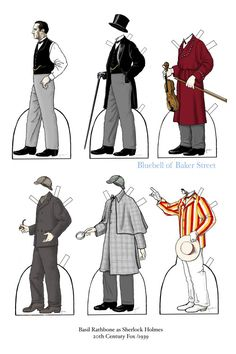 My pet project for this summer will be a collection of Sherlock Holmes paper dolls.  If I complete my Grand Plan, I will draw up about 3 dozen characters from various adaptations. I started with Basil Rathbone because my mom was up for a visit and she is partial to Victorian Rathbone (Who can blame her?)  I have already started my next set  - Martin Freeman as John Watson.  Stay tuned.