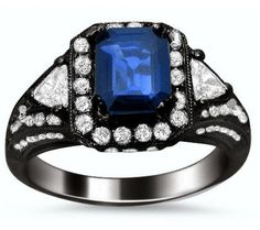 2.10ct Emerald Cut Blue Sapphire and Diamond Ring 18k Black Gold / Front Jewelers