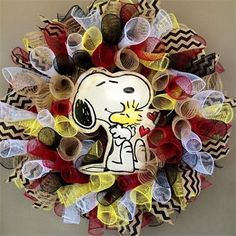 """26"""", Peanuts' Snoopy & Woodstock Spiral Mesh Everyday Wreath in Red, Tan Burlap, Yellow, Black & White with Black Chevron Burlap Ribbon: $65 Made by Red-y Made Wreaths. Like & Follow us on Facebook https://www.facebook.com/pages/Red-y-Made-Wreaths/193750437415618 or Visit us at http://www.redymadewreaths.com/"""