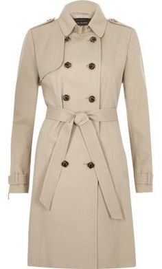 Shop Now - >  https://api.shopstyle.com/action/apiVisitRetailer?id=619420366&pid=2254&pid=uid6996-25233114-59 River Island Womens Beige tie waist trench coat  ...