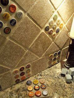Cool bottle cap backsplash tile idea for a home bar or game room. Beer Caps, Ideias Diy, Basement Remodeling, Basement Ideas, Kitchen Remodeling, My Dream Home, Game Room, Home Projects, Diy Home Decor