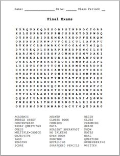 Final Exams - Free Printable Word Search Puzzle