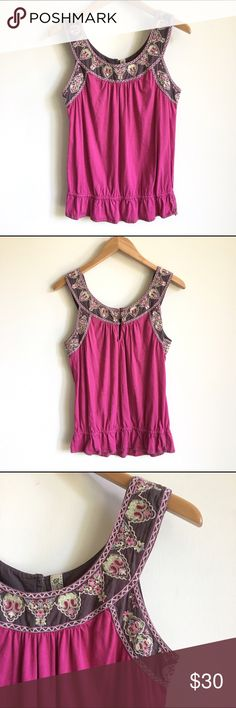 Anthropologie Ric Rac Embroidered Sleeveless Top Magenta pink knit top with beautiful embroidered neckline. Two button closure on the back. Drop waist with thick stick detailing on hem. Excellent condition. Anthropologie Tops Tank Tops