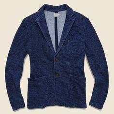 Faherty Marled Indigo Knit Blazer - Indigo
