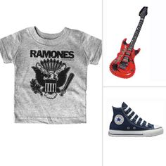 """Rock Star All you need are an old rocker tee, a pair of good sneakers, and the help of an air guitar to complete this rocking look! And this costume works for boys or girls. Finish the outfit with a pair of jeans, and your kiddo is ready to trick-or-treat. Get this look with a vintage Ramones tee ($26), an """"air guitar"""" ($4), and a pair of classic Chucks ($35)."""