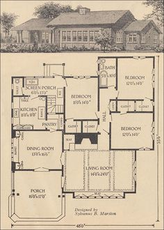 1916 Single-story Bungalow - Ladies Home Journal - Sylvanus B. Such an unusual layout for that time! Vintage House Plans, Vintage Homes, Vintage Architecture, Second Empire, House Blueprints, House With Porch, Craftsman Bungalows, Sims House, Building Plans