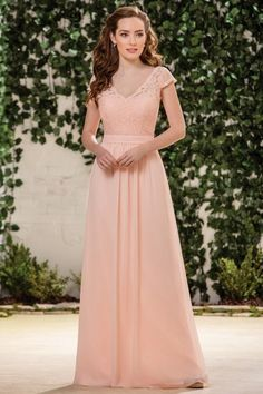 Retro Floor-length Lace V-neck A-line Cap Sleeve Chiffon Long Bridesmaid Dresses