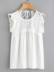Shein Tied Open Back Eyelet Embroidered Top White Fashion, Boho Fashion, Fashion Outfits, Casual Dresses, Casual Outfits, Girls Dresses, Blouse Dress, Lace Tops, Blouse Designs