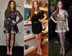 Muito brilho, ainda falando de vestidos curtinhos, ela também no economiza nos paetês, sempre acompanhados de sapatos altíssimos. Glam!