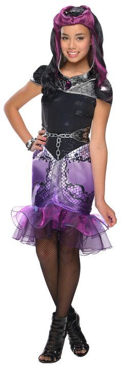 Ever After High - Raven Queen Child Costume Includes: dress, capelet, belt, cuff, and tights. Does not include wig, or shoes. This is an officially licensed Ever After High costume. Weight (lbs) 0.78