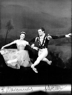 Star Soviet and Russian ballerina (1939-2009) and Russian ballet dancer (b.1940), both world-wide known, beautiful photograph showing them together in performance, signed by both artists. Size is 7 x