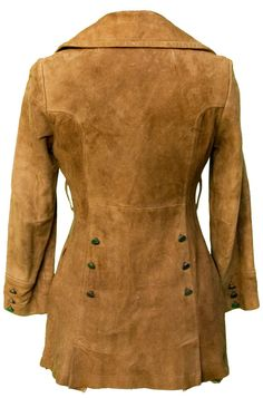 1960s Large Jacket Coat Buckskin Leather Brown by TopangaHiddenT
