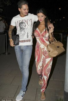 Hands on couple: TOWIE's Mario Falcone shows his amorous side by groping Lucy Mecklenburgh's ample cleavage Mario Falcone, Forever Unique, Paisley Dress, Breast, Jumpsuit, Couples, Dresses, Style, Fashion