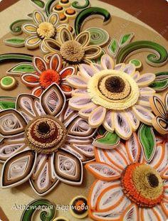 Картина панно рисунок Квиллинг Цветочный узор Бумажные полосы фото 5