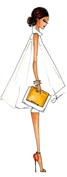 bella la forma del vestito e della borsetta