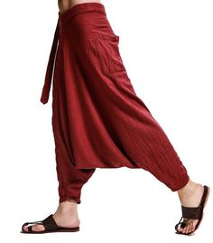 Chinese traditional men's pants zen trousers by Sunflowercloth another colour