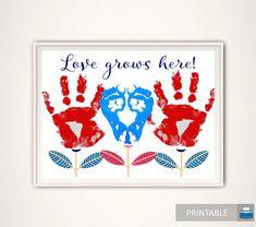 Love Grows Here Handprint Art Handprint Keepsake Love Grows