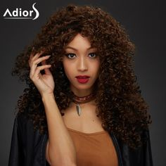 Adiors Long Afro Curly Synthetic Wig #CLICK! #clothing, #shoes, #jewelry, #women, #men, #hats