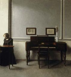 Dannish painter Vilhelm Hammershoi 'Interior: WIth Piano and Woman in Black, Strandgarde 30' (1901). Hammershoi's work strikes me as a beautiful mixture of Rembrandt, Hopper and the work of the monochrome painters. The subtelty of his paintings is just incredible.