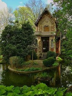 Cottage surrounded by water