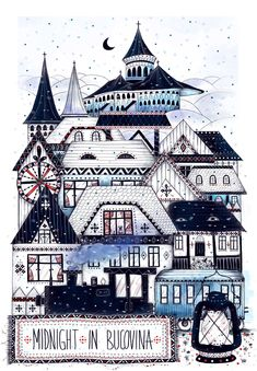 Art print Midnight in Bucovina - a beautiful region of Romania Manually printed on Hahnemühle Fine Art paper. City Illustration, Digital Illustration, Happy National Day, Driving Home For Christmas, Winter Is Here, Classical Art, Pictures To Paint, Fine Art Paper, Fine Art Prints