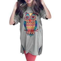 $12.96 Save 50% Only 4 left! Unique Bargains Woman Round Neck Short Sleeve Cartoon Owl Prints Split Side Detail Tops