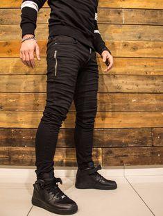 2Y Men Slim Fit Soft Denim Side Zipper Jeans Joggers - Black
