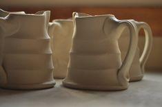 fresh pulled handles Lucy Fagella Ceramic Pitcher, Ceramic Cups, Ceramic Art, Ceramic Techniques, Pottery Techniques, Pottery Mugs, Ceramic Pottery, Pottery Ideas, Pottery Lessons