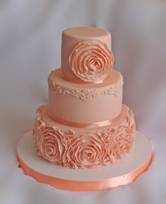 Ruffle roses wedding cake tutorial