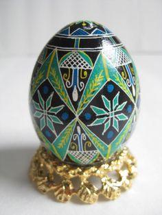 green Pysanka, geometric design on Ukrainian Easter egg, green pysanka egg. $24.95, via Etsy.