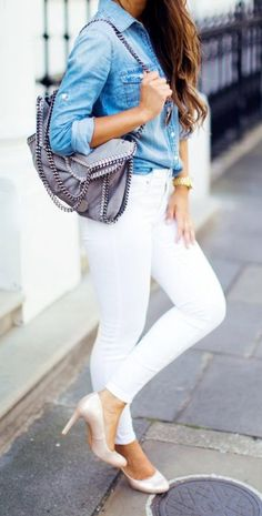 Different ways to wear denim shirt outfits with jeans