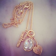 $22 Live Your Life Charm Necklace Set - Gold