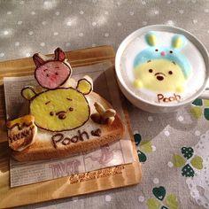 #トーストアート #ラテアート #latteart #プー #ディズニー #pooh #ツムツム #ミルクフォームアート 今日は暖かくて お出かけしたくなります