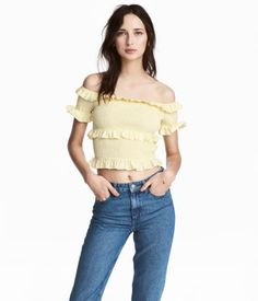 d651882c6d9b6a Off-the-shoulder blouse in woven cotton fabric with short sleeves