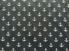 Black Nautical Fabric Cotton Fabric, Boats Fabric, White Anchor Fabric Ocean Coastal Fabric, Ocean Fabric, Vintage Nautical, Fabric Crafts, Anchor, Boats, Cotton Fabric, Clothes Crafts