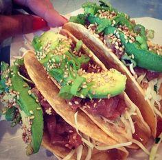 Ahi poke tacos with spicy mayo