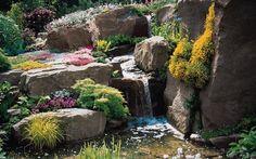 Garten Steine Wasserfall-anlegen Gestaltung