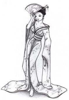 Geisha by Lunasumerin on DeviantArt Japanese Drawings, Japanese Tattoo Art, Japanese Art, Geisha Drawing, Geisha Art, Colouring Pages, Coloring Books, Adult Coloring, Oriental People