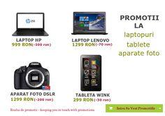 Promotii laptopuri, tablete si aparate foto  Intra acum pe linkurile de mai jos sa vezi toate ofertele.  Tableta: http://www.roabadepromotii.ro/Produse/Promotii-Tableta/  Laptop: http://roabadepromotii.ro/Produse/Promotii-Laptop/  Aparate Foto: http://roabadepromotii.ro/Produse/Promotii-Aparate-Foto/