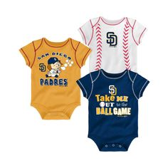 San Diego Padres Boys' 3pk Bodysuit Crawlers 12M, Size: 12 Months, Multicolored