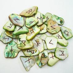 Elder Futhark Runes on Abalone Shell. Wiccan, Magick, Pagan, Ancient Runes, Viking Runes, Rune Casting, Vikings, Rune Symbols, Tarot