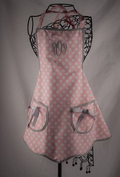 Classy Monogrammed Apron Pink Polka Dot by Millie's Gifts on Etsy, $30.00