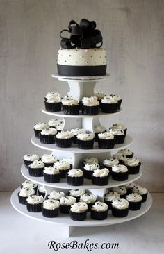 Cupcake Tower Wedding Cakes | The cake and cupcakes are displayed on a Smart Baker stand (which I ...