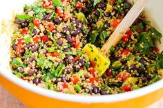 Luckily this Southwestern Quinoa Salad with Black Beans, Red Bell Pepper, and Cilantro is loaded with healthful ingredients, because it was hard to stop eating it! Vegetarian Recipes, Cooking Recipes, Healthy Recipes, Thm Recipes, Healthy Options, Stop Eating, Clean Eating, Healthy Salads, Healthy Eating