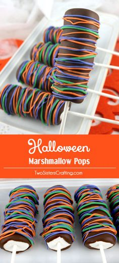 Halloween Marshmallow Pops - fun Halloween dessert that your family will love. Easy to make and super delicious, these chocolate covered Marshmallow Pops would be a great Halloween Treat for this year's Halloween Party. Pin this delicious Halloween Candy for later and follow us for more great Halloween Food Ideas.