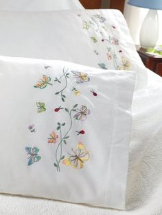 Bucilla 45076 Stamped Embroidery Kit, by Pillowcase Pair, Butterflies in Flight Vintage Embroidery, Ribbon Embroidery, Embroidery Stitches, Embroidery Patterns, Machine Embroidery, Baby Sheets, Embroidered Pillowcases, Embroidered Towels, Embroidery Transfers