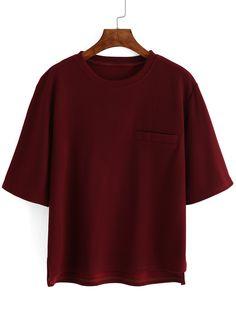 Ribbed Pocket Maroon T-shirt