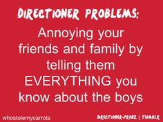 That's 100% what Directioners do. I'm not intentionally trying to be annoying. One Direction is just unbelievably interesting! And I sing at the table